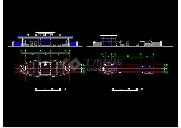某市大门建筑CAD平立面设计图方案-图3