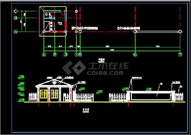 某小区大门设计施工CAD建筑方案图-图1