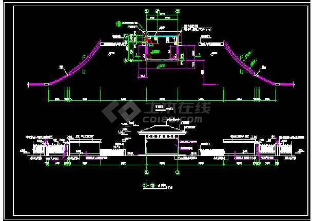 某小区大门设计施工CAD建筑方案图-图2