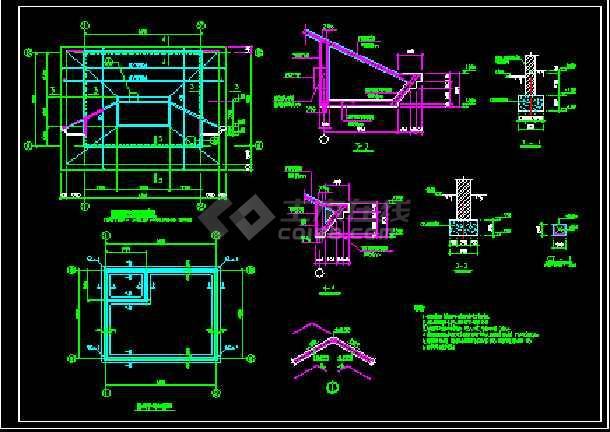 某小区大门设计施工CAD建筑方案图-图3