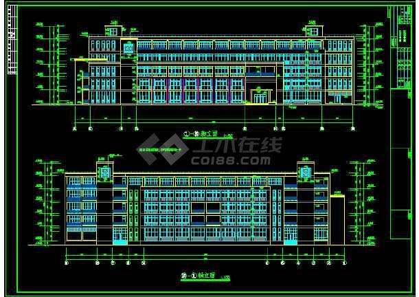 某大学教学楼平面建筑设计CAD施工图-图3