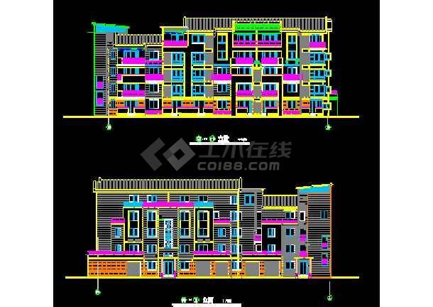 江苏某地多层住宅楼建筑CAD设计方案图-图1