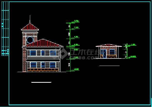 某高档花园会所建筑设计施工CAD方案图-图2