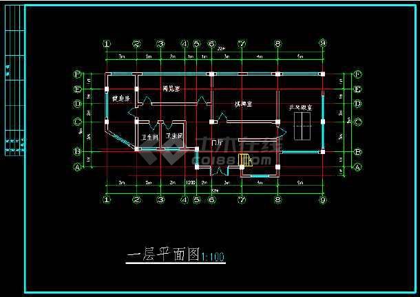某高档花园会所建筑设计施工CAD方案图-图3