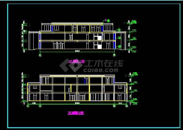 会所建筑施工设计CAD全套方案图纸-图2