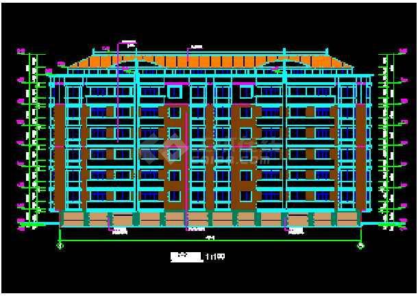 某市多层公寓建筑CAD施工设计平面图-图1