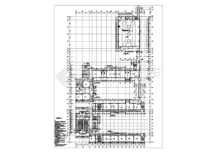 某地中心小学带地下室建筑结构施工图-图3