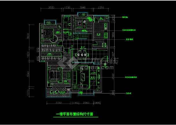 某两层完整别墅室内家装cad设计平面施工图大样图-图1