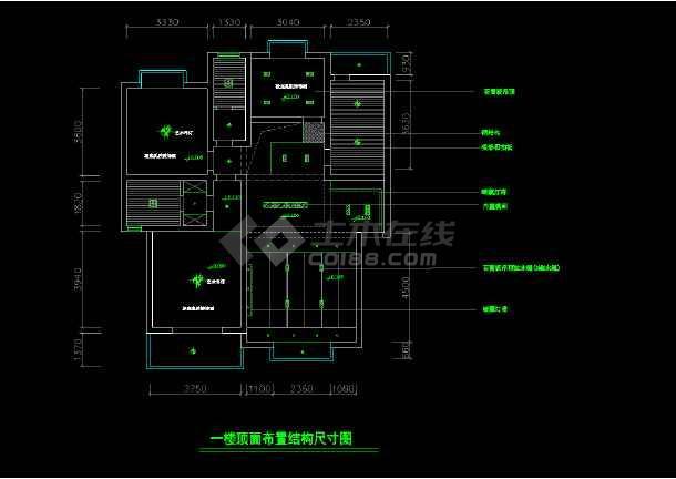某两层完整别墅室内家装cad设计平面施工图大样图-图2