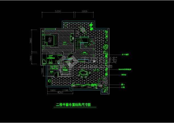 某两层完整别墅室内家装cad设计平面施工图大样图-图3