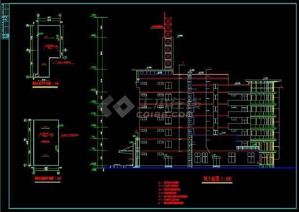 六层办公楼规划及CAD设计详细图纸-图3