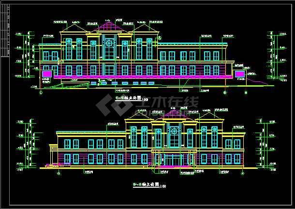 某小区会所建筑设计CAD全套施工图-图1