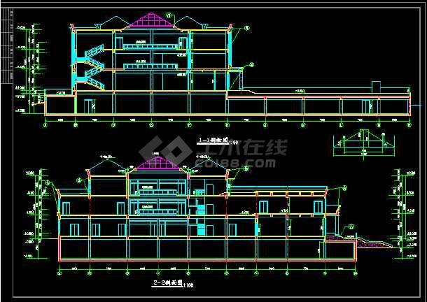 某小区会所建筑设计CAD全套施工图-图3