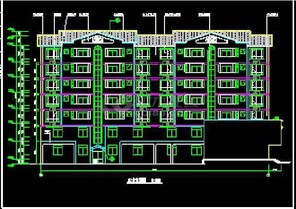 某7层商住楼CAD设计建筑施工图-图3