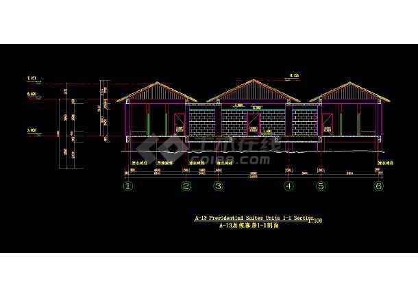 某度假别墅村总统套房全套cad建筑施工图-图2