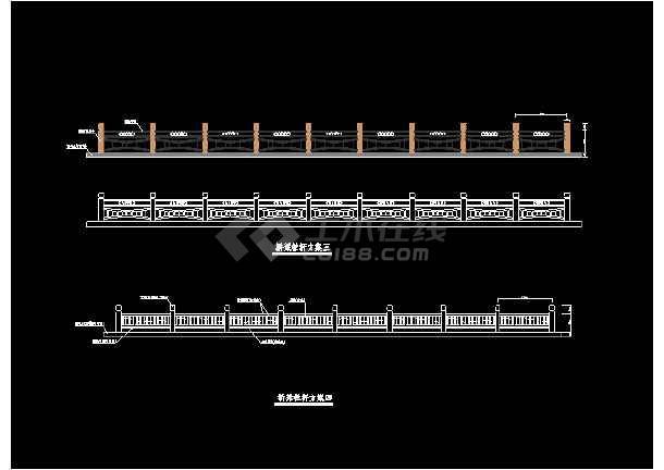 某市路桥石栏杆cad设计方案图集-图1