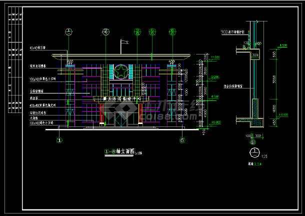 小区内部小型活动中心cad建筑设计施工图-图2