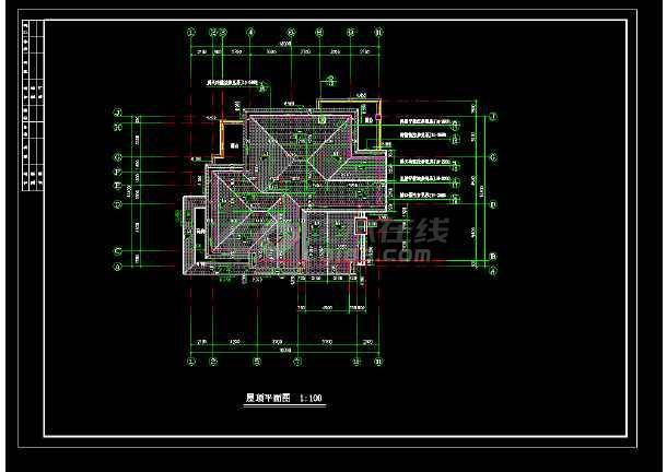 某市高档别墅T型建筑cad施工图-图1