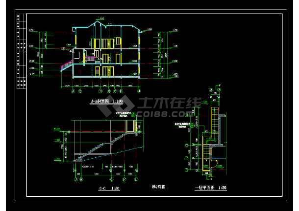 某市高档别墅T型建筑cad施工图-图2