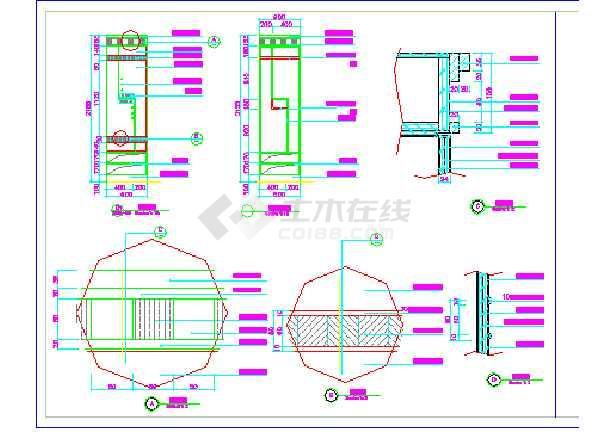 某宾馆三层更衣室建筑设计方案全套CAD图纸-图2
