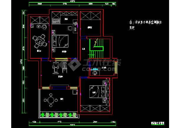 卧龙山水绿都室内设计装修cad施工平面图