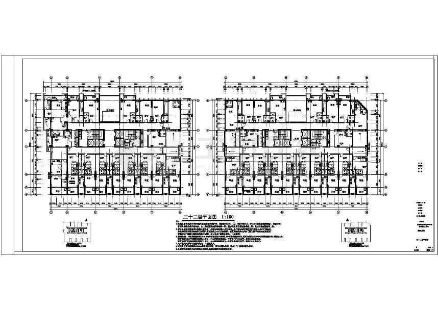 精美实用的32层办公楼建筑施工图(标注详细)