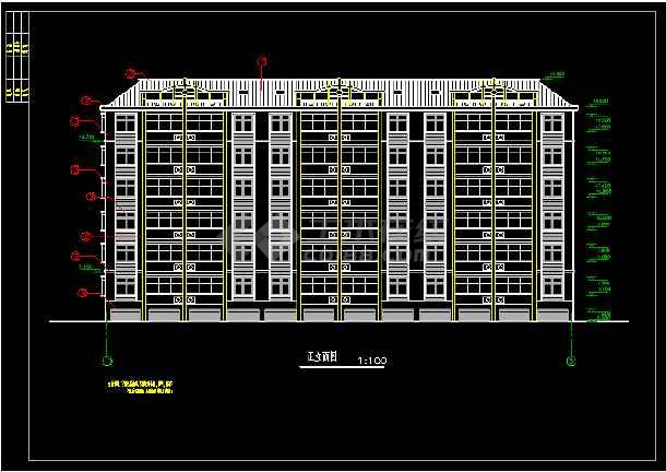 某小区六层住宅楼建筑设计CAD平立面施工图-图1