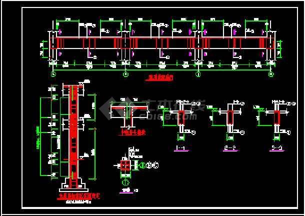 江畔明珠小区大门建筑设计CAD方案图-图1