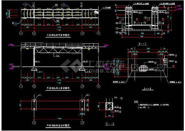某闹市过街天桥详细cad结构设计施工图纸-图1