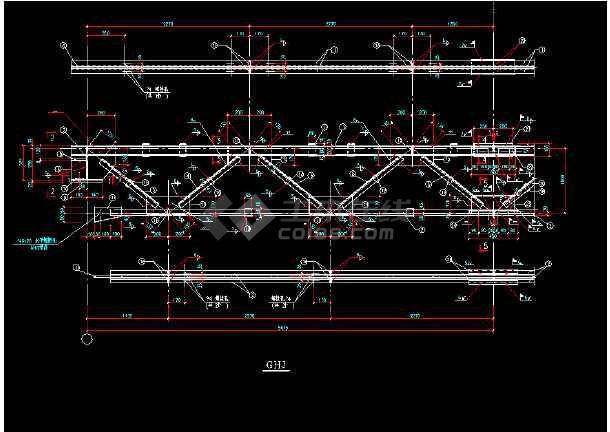 某闹市过街天桥详细cad结构设计施工图纸-图2