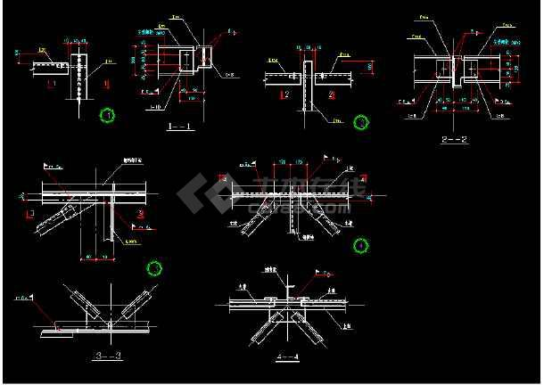 某闹市过街天桥详细cad结构设计施工图纸-图3