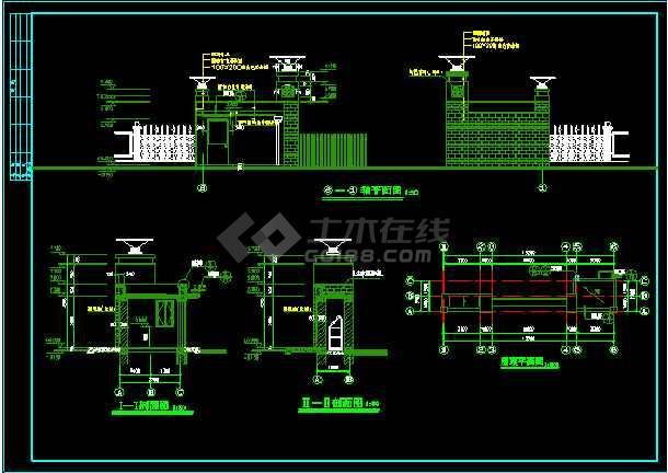 某住宅小区建筑设计CAD大门施工图-图2