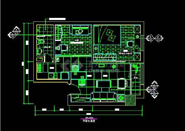 家装室内设计平面装修CAD施工图-图1