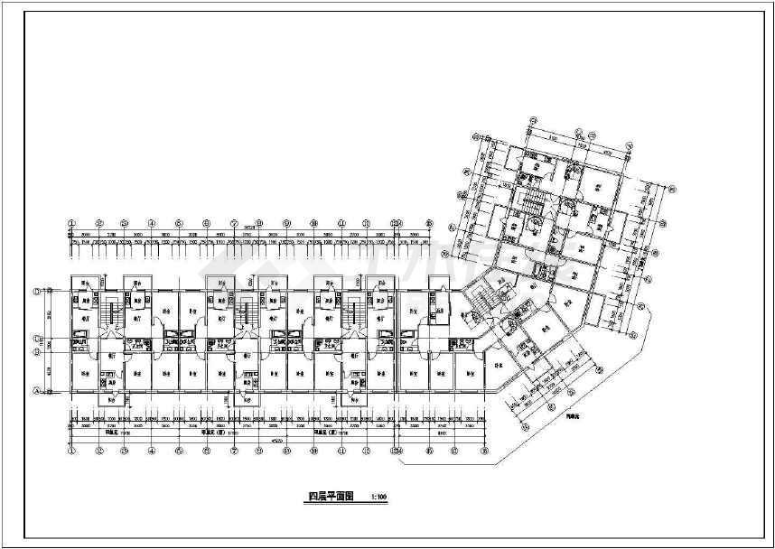 多层转角楼住宅楼建筑cad设计图