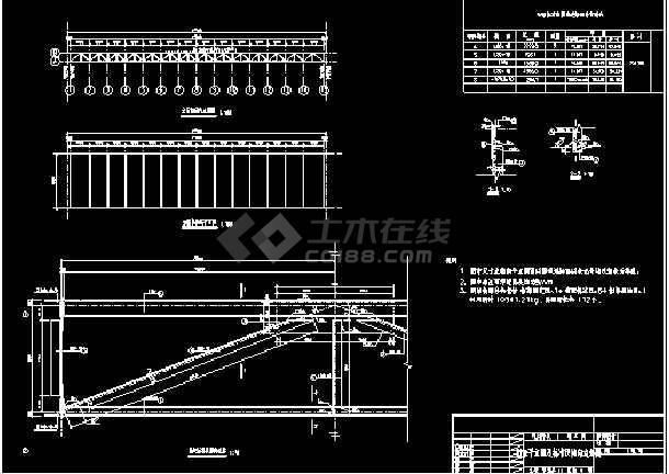某河流步行桥结构cad设计施工详图纸-图2