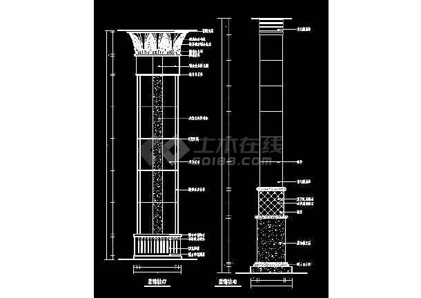 某装饰柱cad详细大样设计施工图-图1