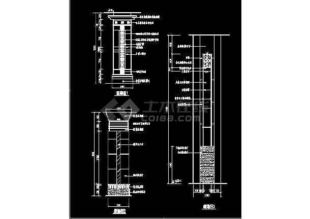 某装饰柱cad详细大样设计施工图-图2