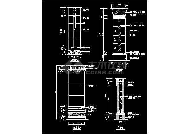 某装饰柱cad详细大样设计施工图-图3