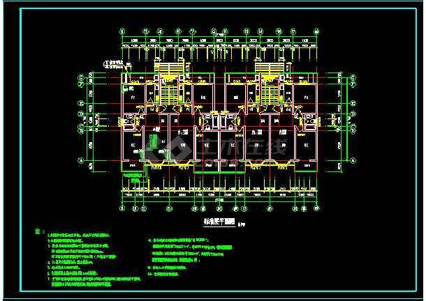 某6层住宅楼建筑设计CAD全套施工图-图3