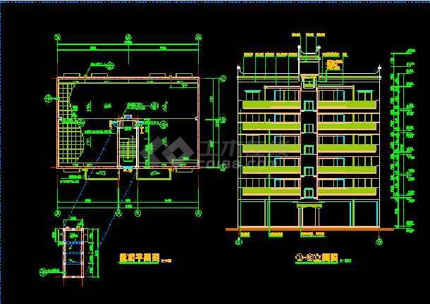 丹巴县某六层框架商住宅楼建筑CAD设计施工图-图1