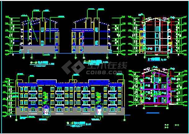某小区住宅楼建筑设计CAD施工图纸-图2