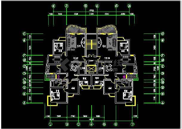一梯两户户型大全设计施工CAD方案图-图1