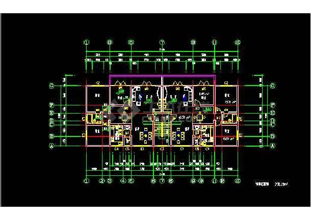 一梯两户户型大全设计施工CAD方案图-图2