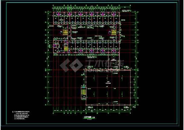 某校多层宿舍楼建筑设计平立剖面cad施工图-图1