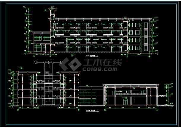某校多层宿舍楼建筑设计平立剖面cad施工图-图2