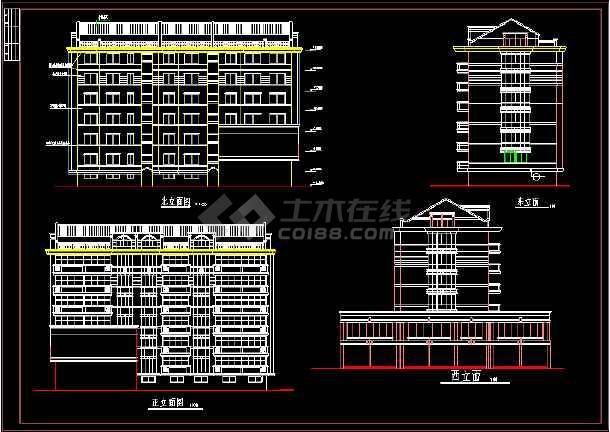 六层商住楼建筑设计施工CAD方案图-图1
