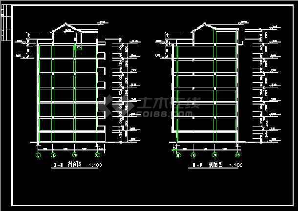 六层商住楼建筑设计施工CAD方案图-图3