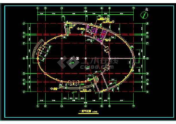 高级小区会所建筑设计CAD方案全套图-图3