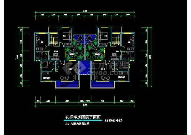 花样洋房住宅建筑设计施工CAD户型图-图3