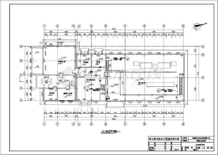 某地加压泵站综合楼变电所送水泵房建筑施工图纸-图1